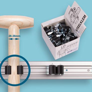PRAX  Displaydoos met 20 steelklemmen  Ø 35 mm       Adviesprijs € 2,35 p/st.