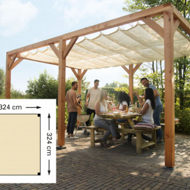 Douglas houtpakket 324 x 424 cm t.b.v. schaduwdoek 290 x 400 cm, kleurloos ge#mpregneerd.