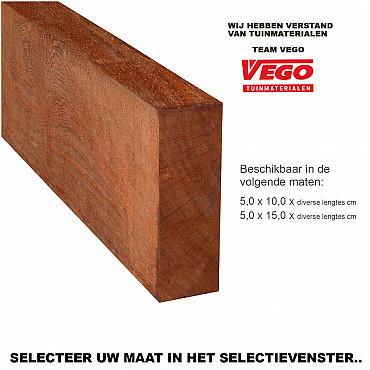 Hardhout Ruwe Gording / Ligger 5,0x10,0x300cm