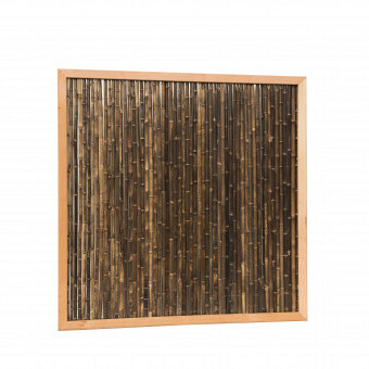Bamboescherm van zwarte bamboestokken in douglas frame, 186 x 186 cm.