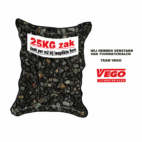 25 kg Beach Pebbles Black 8-16 mm