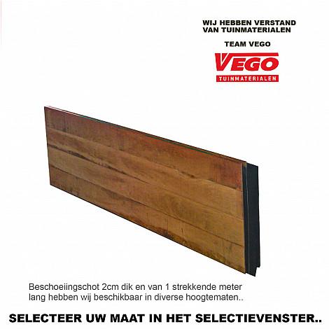 Vego Beschoeiingsschot Hardhout 100cm hoog  (per strekkende meter)