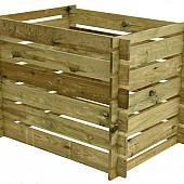Compostsilo fijnbezaagd grenen 70 x 100 x 70 cm, groen ge#mpregneerd.