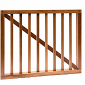 Hardhouten spijlenhek/ -poort, 100 x 80 cm. Frame 4,5 x 7 cm, spijlen 2 x 3 cm.