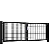 Dubbele poorten zwart Premium-Line (compleet)