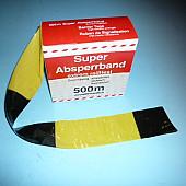 Afzetband  500 meter lang, 8 cm breed. Geel Zwart.  Trekvast versterkt